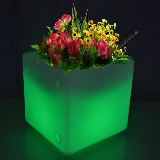 Free Shipping LED Light Flowerpot Colors Changeable Luminous flash flower pot tray VASO Vase LIGHT indoor Outdoor D30cm*H30cm