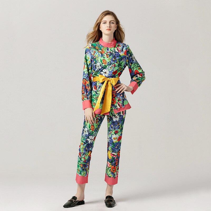 Deux Ceinture Sash Imprimé Pantalon Blouse Long Pièces sets Avec 2019 Ensembles Femmes Bow Neck Manches Twin Floral De Piste O q77PfzTw