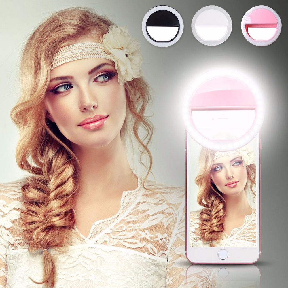 LED Tragbare Fotografie Flash Light Up Selfie Lichtlampe Telefon Ring Licht Nacht Video Licht For IPhone X 8 Plus Samsung S9 S8