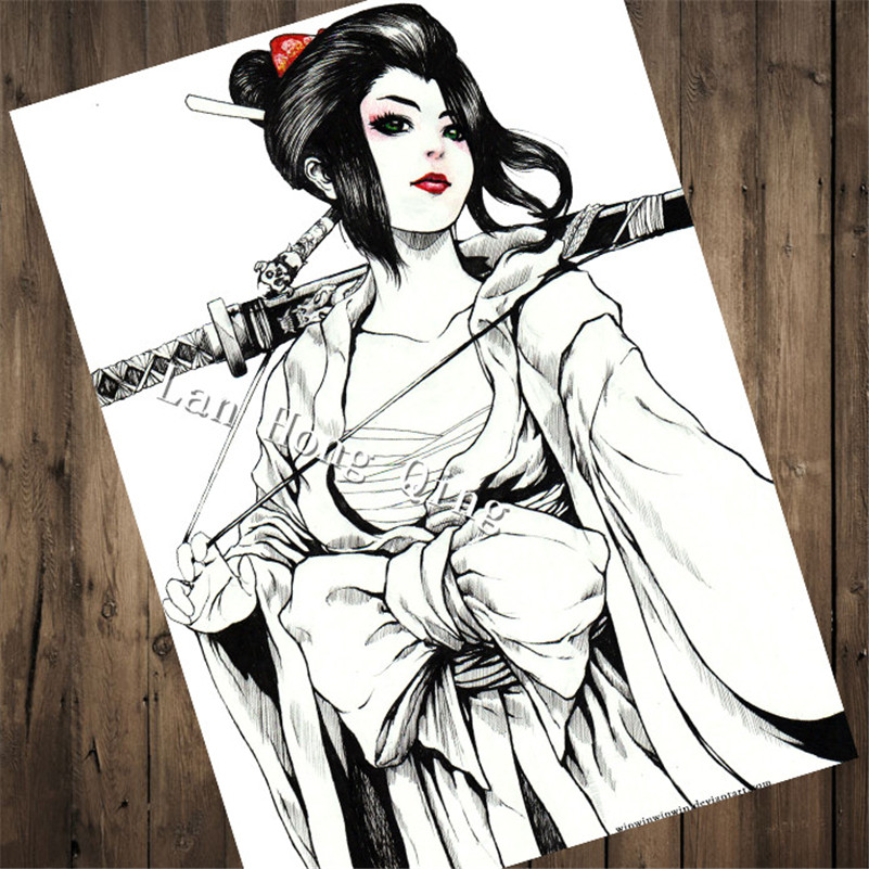 HM-66 Hot sales Hairdresser Tattoos kraft paper Beautiful woman for kichen vintage poster cafe bar living room wall decor
