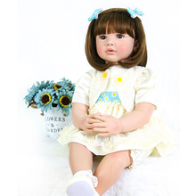 Cute round face Bebe Reborn Doll 24'' Silicone Reborn Girl Baby Doll Toys Newborn Lifelike princess for Girl safe and non-toxic 22 inch baby reborn doll toys full body soft silicone vinyl non toxic safe realistic bebe newborn doll toys best gift for girls