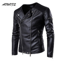 AOWOFS 2019 Spring Leather Jackets Men Collarless Motorcycle Jackets for Men Slim Fit Zippers Mens Jackets Coats Leather Biker