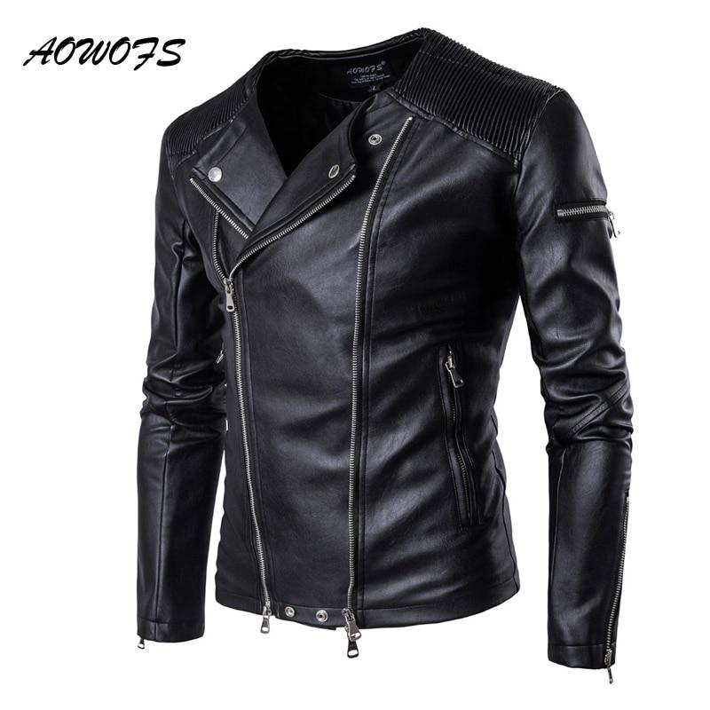 AOWOFS 2019 printemps vestes en cuir hommes sans col vestes de moto pour hommes Slim Fit fermetures à glissière hommes vestes manteaux en cuir Biker