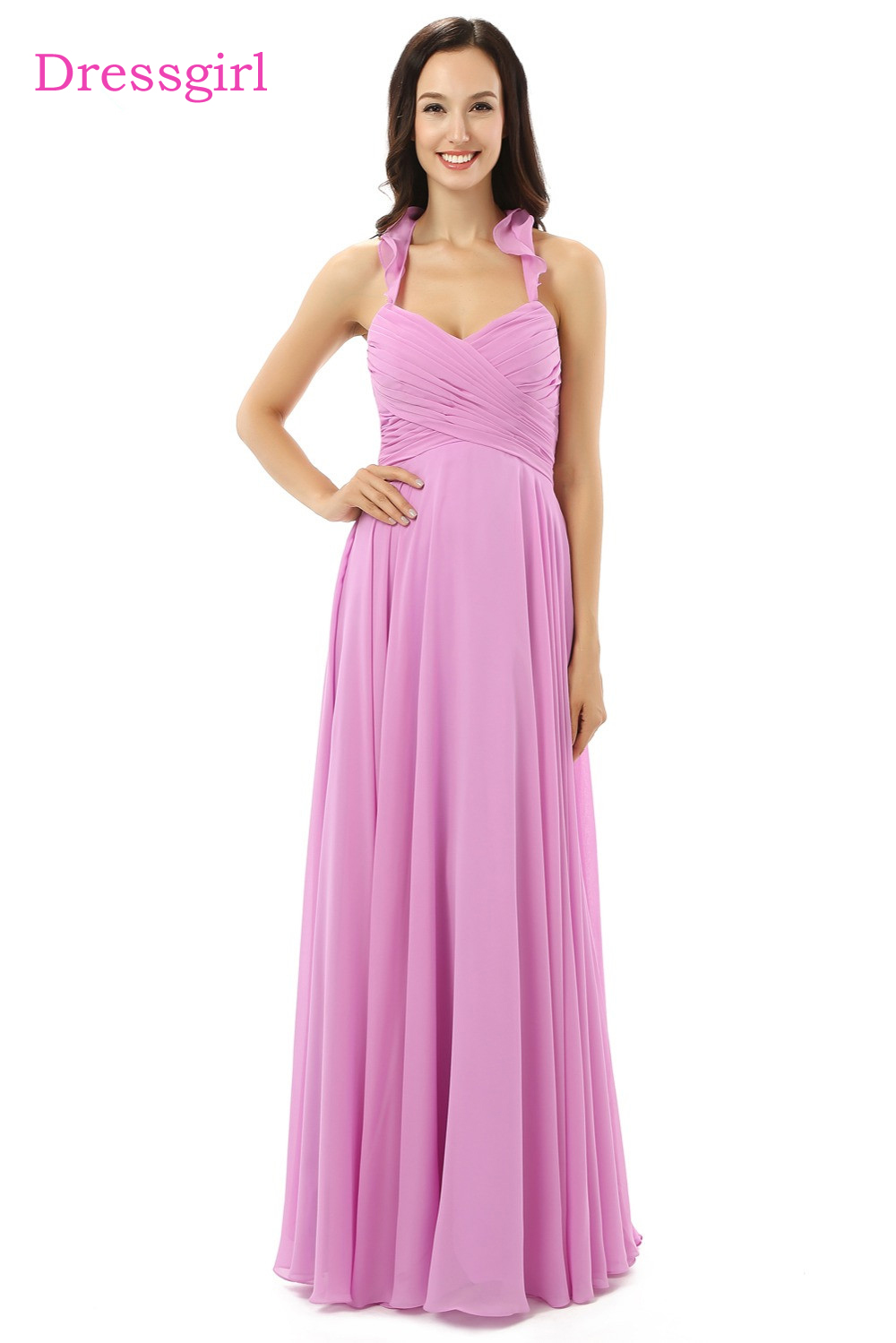 New 2018 Cheap Bridesmaid Dresses Under 50 A line Halter Floor ...