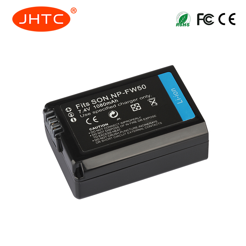 JHTC 1pc 7.4v 1080mAh NP-FW50 NP FW50 NPFW50 Replacement battery For Sony Alpha a6500 a6300 a6000 a5000 a3000 NEX-3 a7R