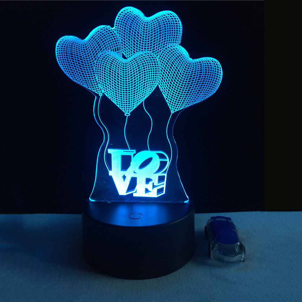 3D Visual Bulb Optical Illusion Colorful LED Table Lamp Touch Romantic Holiday Night Light Love Heart Wedding Children Gifts valentine heart ballon pattern love confession gifts night light