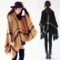 Women Oversized Plaid High Collar Loose Bat Sleeve Irregular Kintted Sweater Shawl Tassel Poncho Cape Coat Pullover