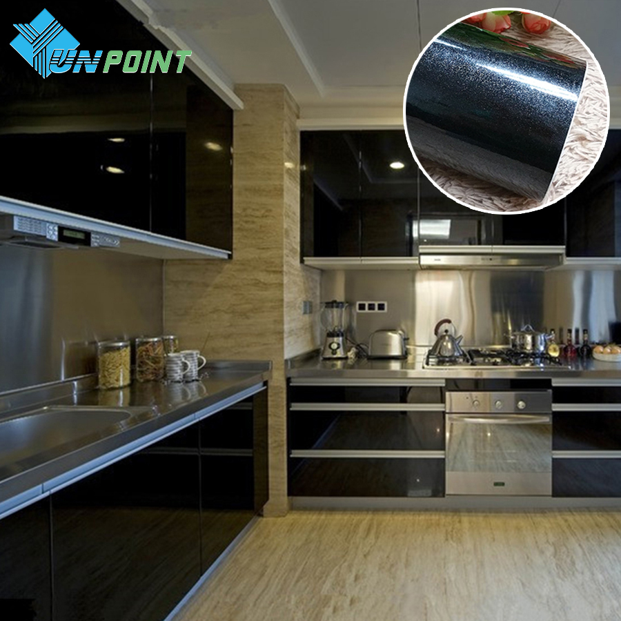 New Waterproof Wall Paper Roll PVC Self-adhensive Wallpaper For Kitchen Furniture Cabinets Papel De Parede Black Decorative Film