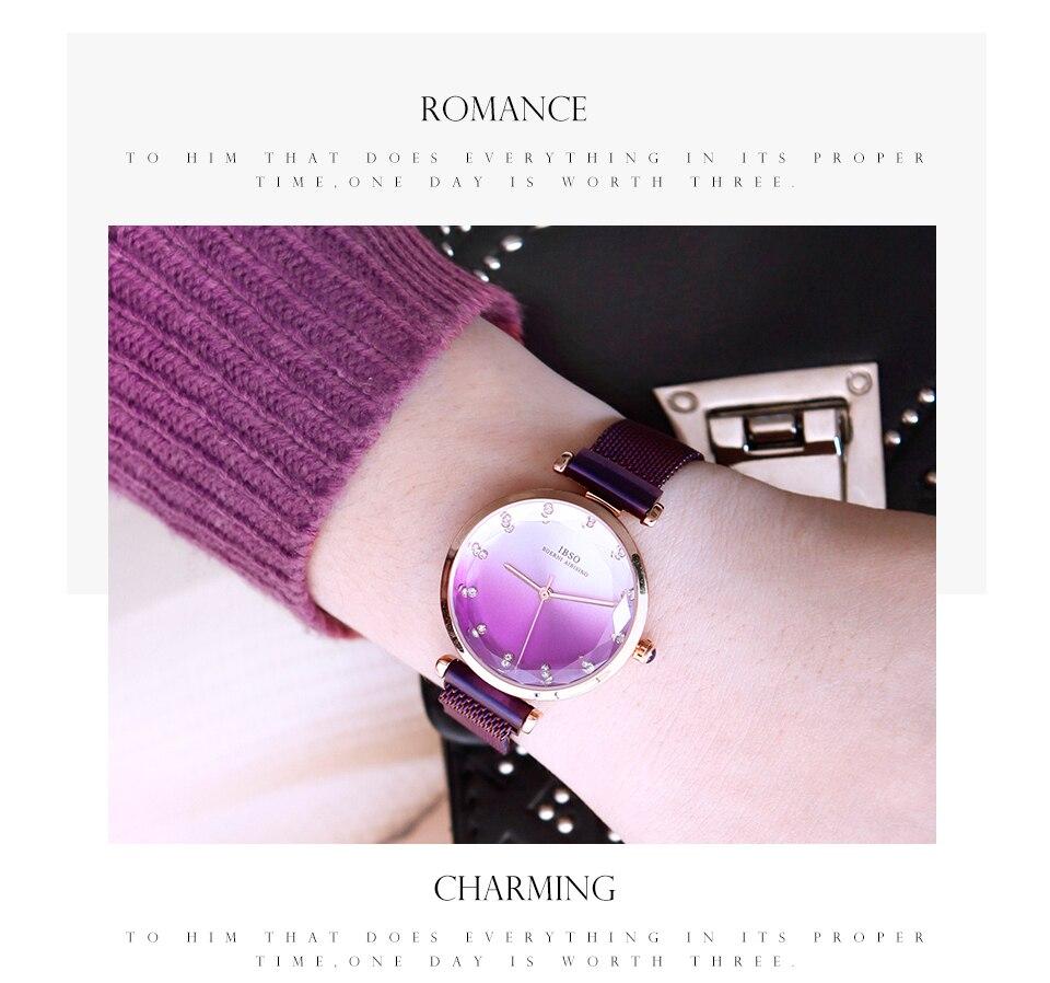 Fashion Women Hit Color Watches Female Cut Glass Design Quartz Watch Magnet Buckle 11