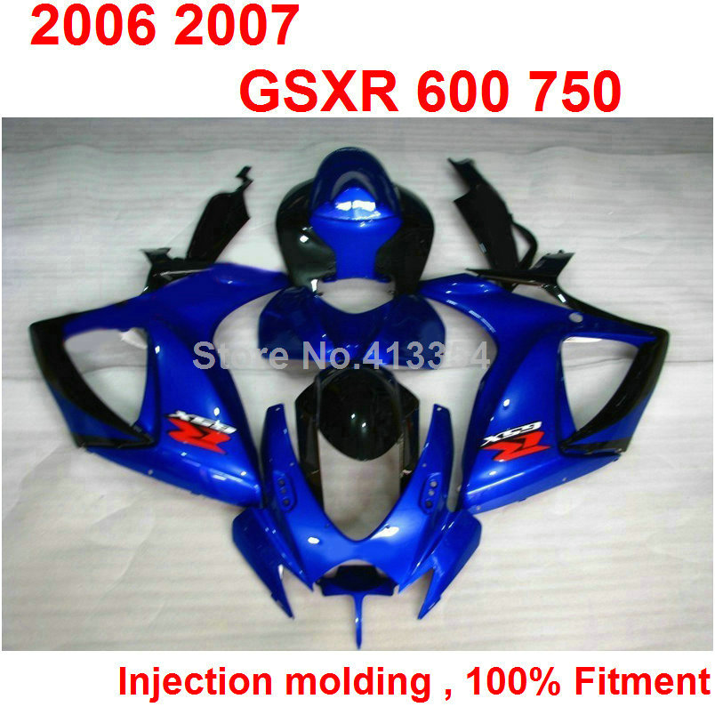 font b Motorcycle b font free customize fairings for Suzuki GSXR600 2006 2007 blue injection