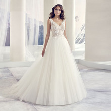 Eightree V Neck Appliques Lace Wedding Gowns 2019 A-Line Tulle Princess Boho Wedding Dress Bridal Dress vestido de noiva sereia a line tulle wedding dress 2019 princess wedding gowns v neck sleeveless backless bride bridal dresses vestido de noiva