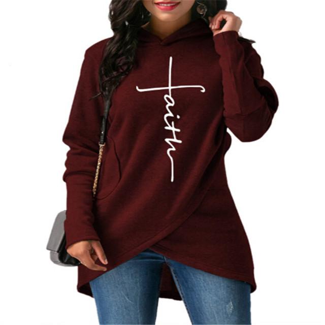 2018 New Fashion Faith Print Kawaii Sweatshirt Femmes Irregular Sweatshirts Hoodies Women Youth Female Pocket Creative Plus Size