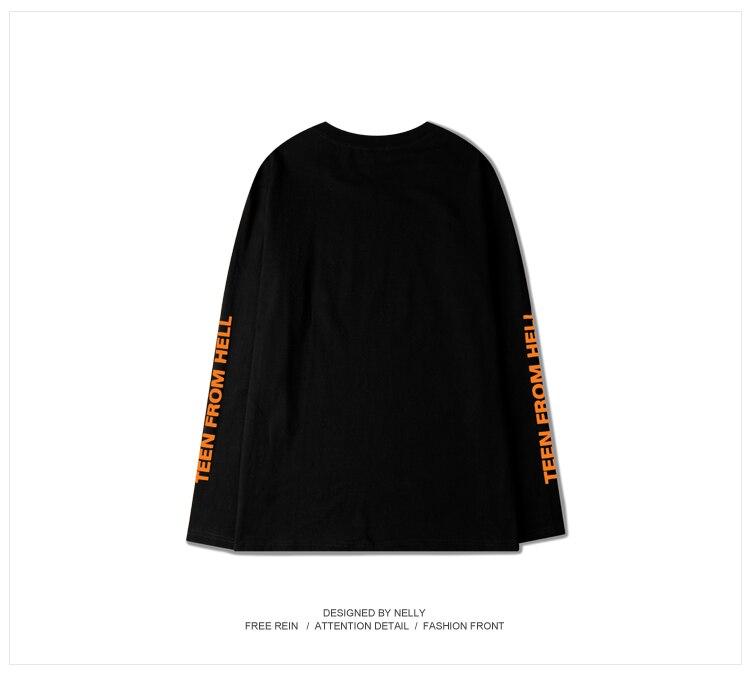 377fe17748 Ss16 OVERSIZE solto Retro Homens T shirts de Manga Comprida hip hop  Streetwear roupas ADOLESCENTE DO INFERNO juventude New arrivals em Camisetas  de Dos ...