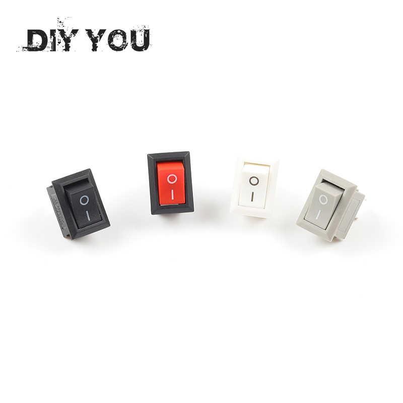 10 Pcs/lot KCD11 10x15mm Mini Push Button Switch SPST 2Pin 3A 250V AC Snap-in On/Off Boat Rocker Switch 1Black Red White Gray