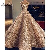 Champagne Or Robe de Soirée 2018 Date Profonde V Cou Long Robes Plafonné Manches Faite Sur Commande de Partie Robes de bal Robe De Festa