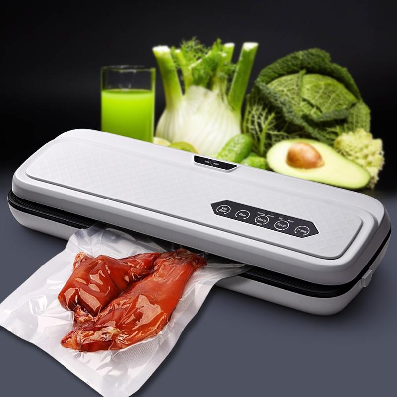 Aferidor do Vácuo de Alimentos da cozinha Com 10PCS Alimentos Sacos de Vedação Automática Aferidor Do Vácuo Máquina de Embalagem de Alimentos Elétrica 220V 110V