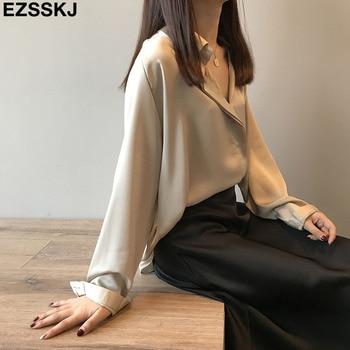 2019 new chic casual loose poplin shirt female temperamen silk blouse shirt women elegant Korean solid color oversize top 1