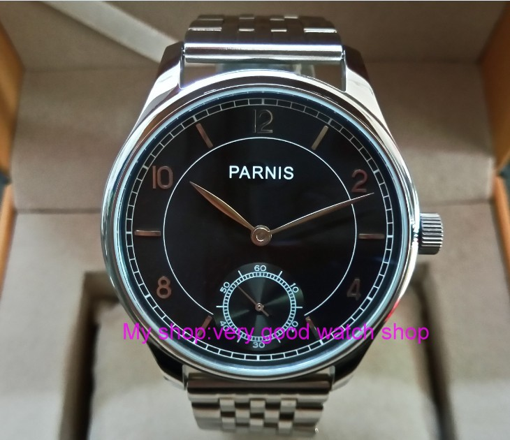 44mm PARNIS Asian 17 jewels ST3621/6498 Mechanical Hand Wind movement black dial Stainless steel strap men's watches sdgd46A