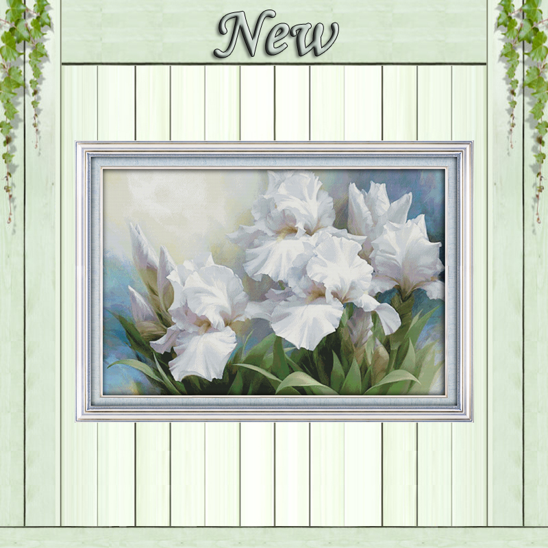 Iris scenery flower home decor painting counted print on canvas DMC 14CT11CT Chinese Cross Stitch Needlework