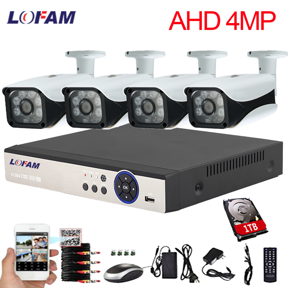 LOFAM 8CH CCTV System 4CH 4PCS 4 0MP Outdoor Waterproof Security Camera 8CH 4MP DVR NVR