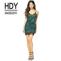 2018 HDY Fashion Malachite Green Sequins Dress Sexy Spaghetti Strap Backless Package Hip Dress Women Casual