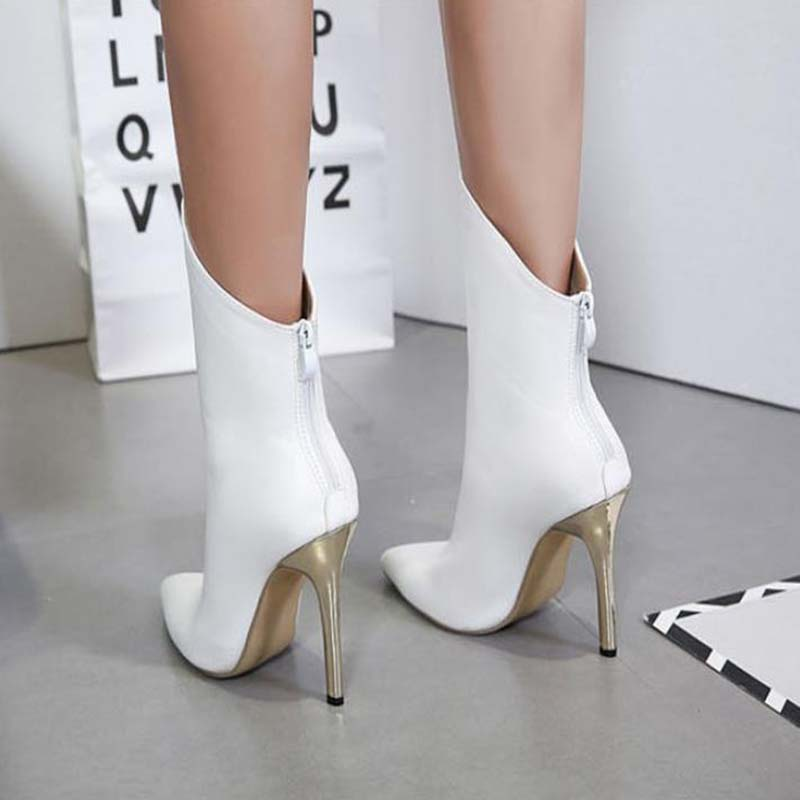 Women Zipper Boots White Ankle Boots Thin Heels Fashion ...