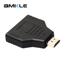Amkle 1080P 1 in 2 HDMI Adapter Splitter HDMI Male to HDMI 2 Female Onversion Head Adapter 1.4 HDMI Switch for HDTV