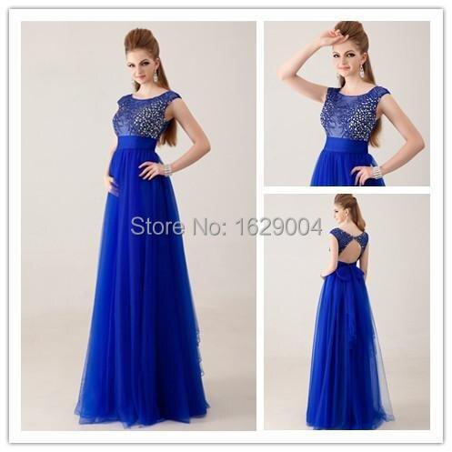 3fca906c248 Elegante Scoop escote rebordear opacidad Top azul real vestidos noche para  mujeres gordas vestido de festa