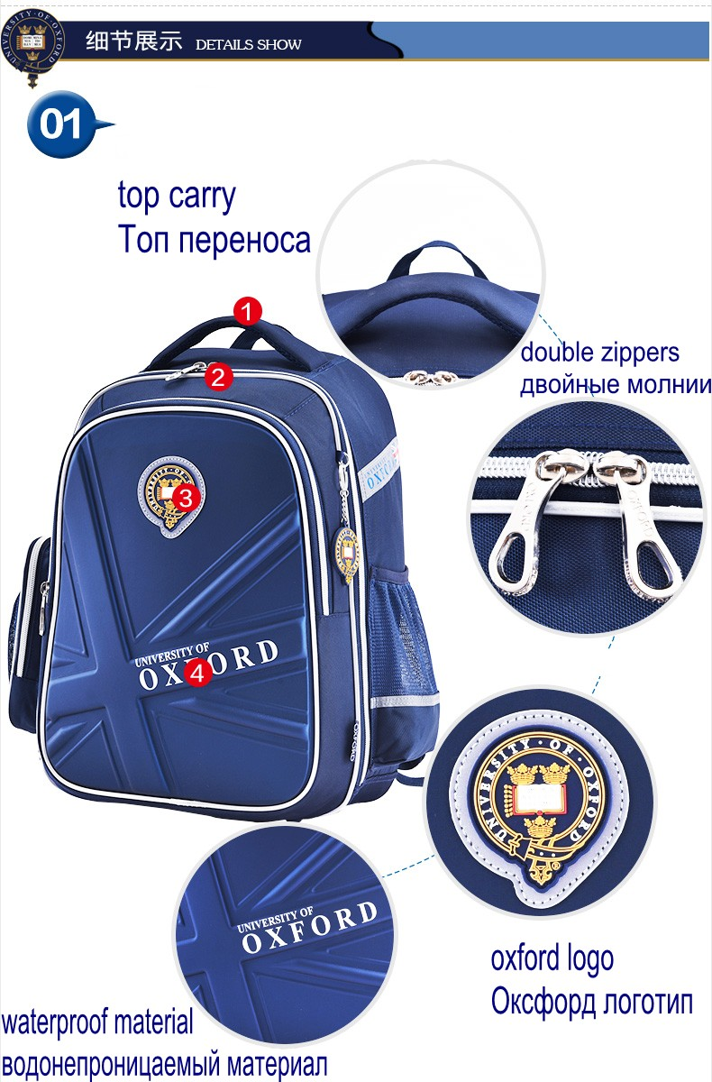 Hot Sale University Of Oxford Orthopedic School Bags Children Backpack Portfolio Rucksack For Teenagers Boys Girls #5