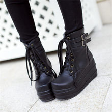 Tennis Shoes Womens Black Lace Up High Heels Ankle Boots Top Wedges Platform Party Punk Pumps Round Toe Buckle