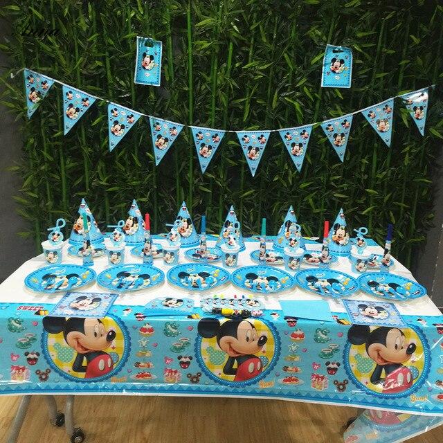 Mickey Mouse Festa de Aniversário Decoração Suprimentos Conjunto de Mesa Guardanapo Prato Copo Tabelcloth Guardanapos Crianças Bebê Chuveiro Dom Favor