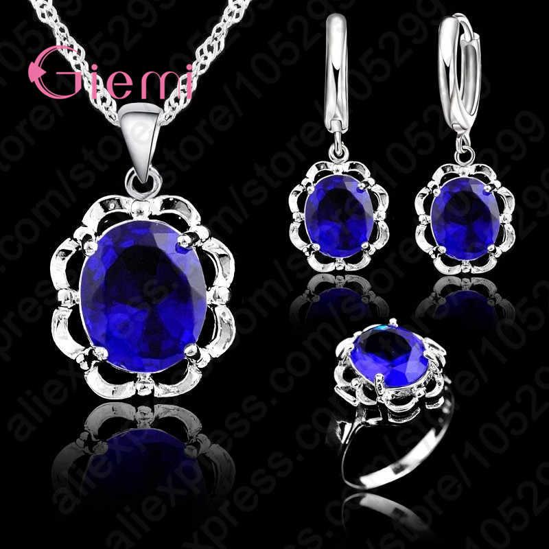 Il modo Nuovo Di Cristallo Heart & Arrows Set Collana e Orecchini Anello 925 Sterling Set gioielli d'argento Per La Cerimonia Nuziale & Del Partito