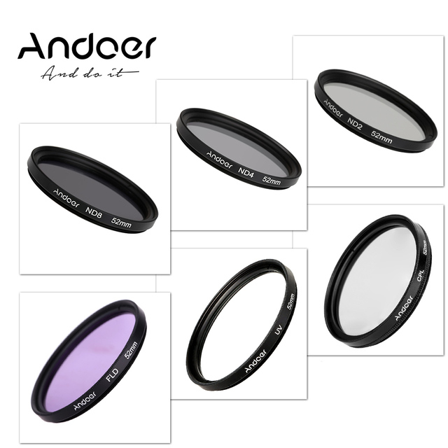 cf924243cc82b4 D outre mer Stock Andoer 52mm UV + CPL + FLD + ND2 4 8 Photographie ...