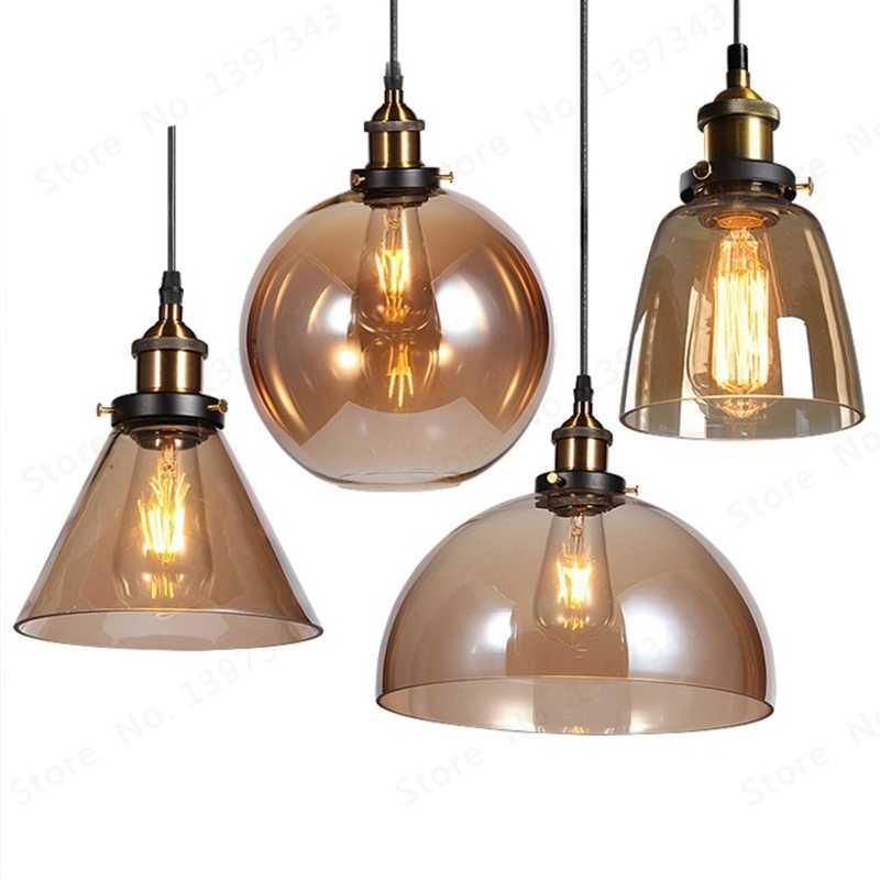 GZMJ lámparas colgantes clásicas industriales De Cuerda De vidrio LED, lámpara para colgar, lámparas grises ahumadas De Techo Colgante, lustre, cocina, jardín, Loft