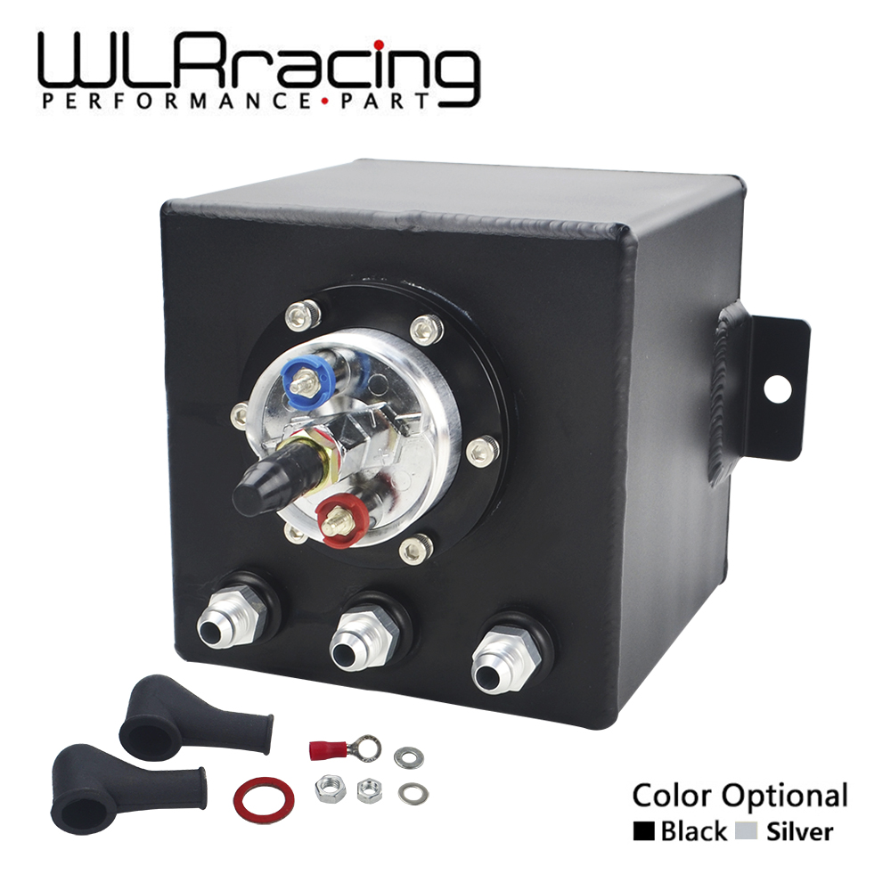 WLR RACING - 2L BILLET ALUMINUM FUEL SURGE TANK / SURGE TANK + HIGH QUALITY EXTERNAL 044 FUEL PUMP WLR-TK8344 lzone racing black aluminium fuel surge tank with cap foam inside fuel cell 40l without sensor jr tk21bk