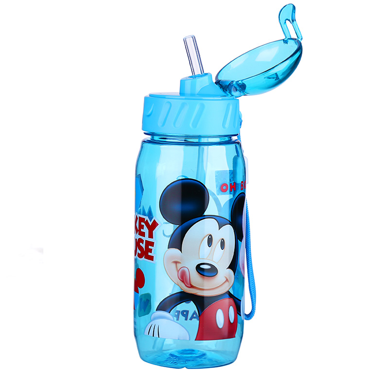 Disney My bottle Children Kids Baby Cartoon Minnie Mickey Lovely Eco-friendly With lid Hiking Straw Type  Plastic Water bottle