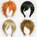 Light Brown Orange Flaxen Black Short Lace Synthetic Hair With Fringe False Cosplay Wigs Ensemble Ensemble Stars-Hidaka Hokuto