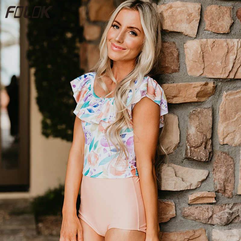 Folok Retro Swimwear With Ruffled Collar For Women Floral Dot Printed Swimsuit High Waist Bikini Classic Beachwear in Bikinis Set from Sports Entertainment