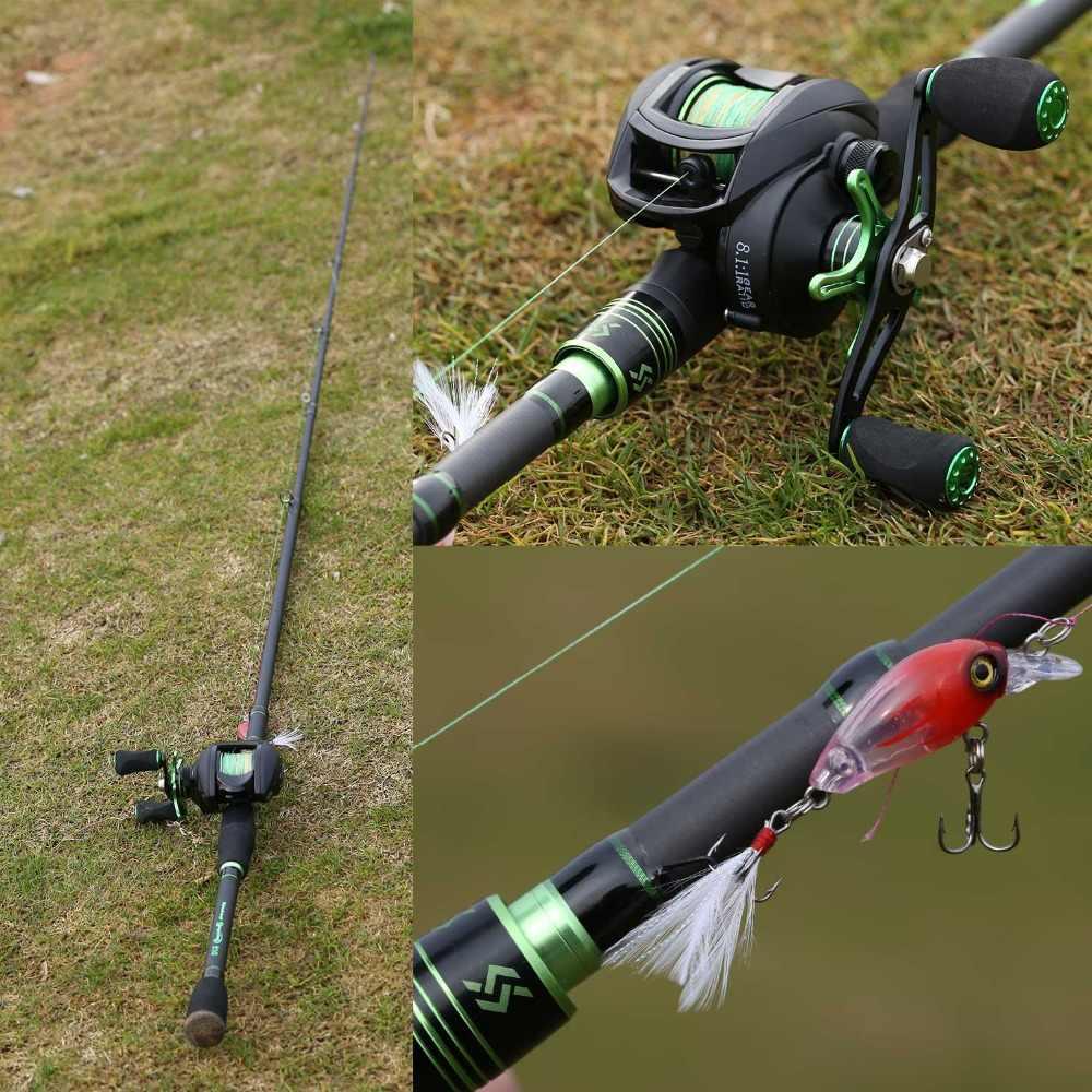 Sougayilang Telescopic Fishing Rod with BaitCasting Fishing Reel Combo -Carbon Fiber Portable Casting Fishing Pole Reel Kit
