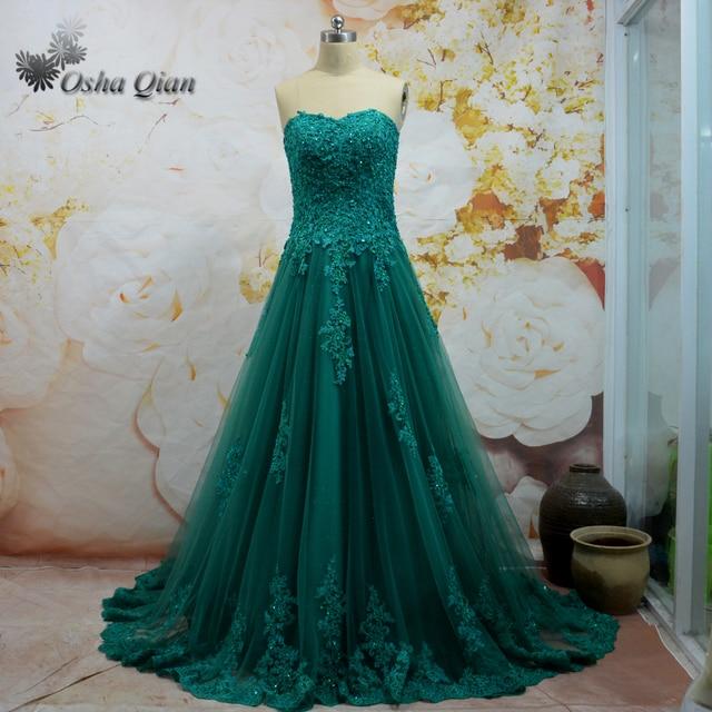 2031c72b563 Emerald Green Prom Dress Lace Shiny Tulle Graduation Dresses Sweetheart  Corset Back Long Train Women Fomal Gown Vestido de festa