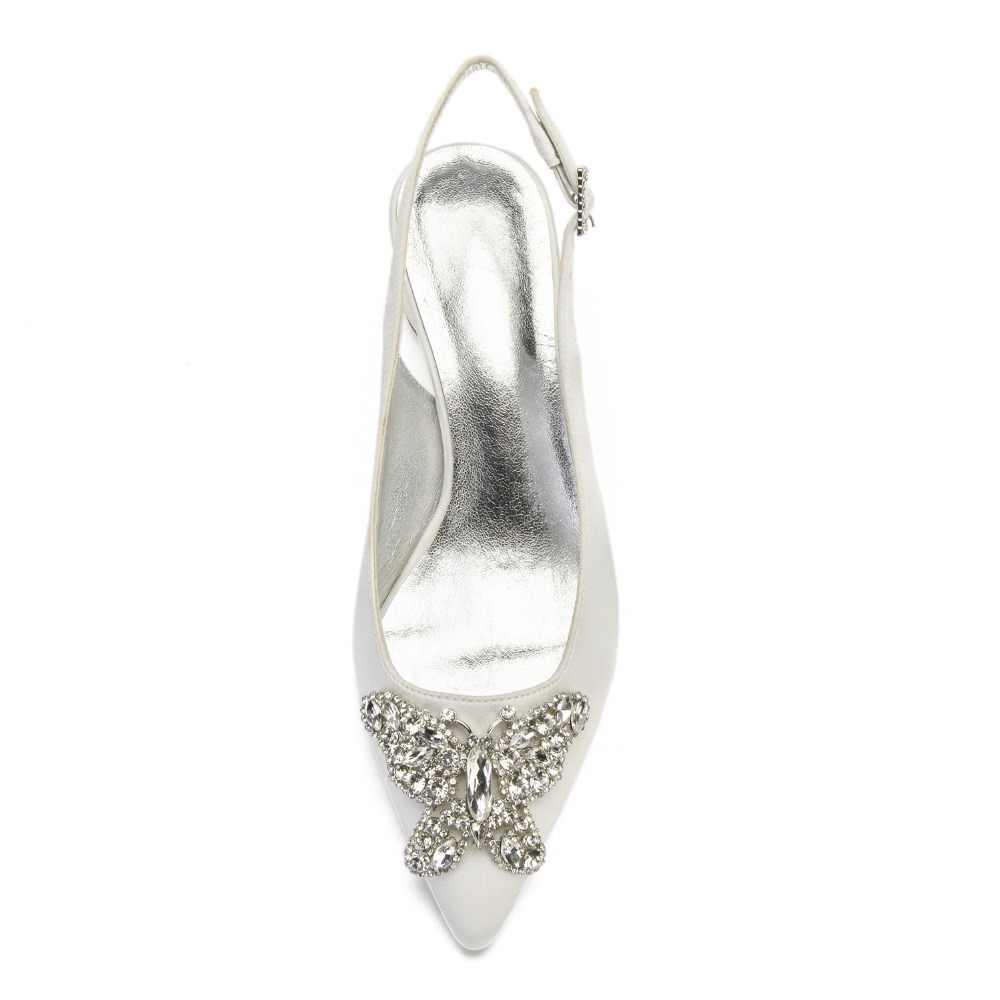 Menunjuk Toe Slingback Bulat Kucing Tumit Rendah Lady Satin Evening Gaun Sepatu dengan 3D Kristal Butterfly Bros Pengantin Pernikahan Prom