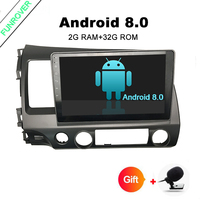 Funrover Android 8.0 Car Head Unit 10.1 inch for Honda Civic 2006 2011 GPS with Radio RDS FM BT Mirror Link OBD without dvd