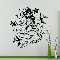 Mermaid Girl Wall Vinyl Decal Marine Sea Wall Sticker Home Wall Art Decor Ideas Wall Interior