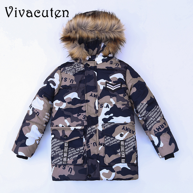 Children Teenage Boys Camouflage Parka Down Jacket Coats with Faux Fur Hooded Winter Warm Thick Cotton Padded Coats Kids Clothes men warm coats winter snow thick hooded slim fit down parka brand design casual cotton fashion padded outwear sl e437