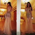 Vestidos De Festa 2017 Sexy Champagne Sweetheart Sleeveless Beaded Rhinestone See Through Mermaid Prom Dresses Tulle Formal Gown