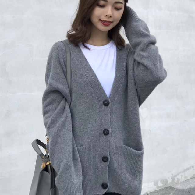 7d6e4221c4 Women's Basic Knit Cardigan Boyfriend Winter 2017 Long Sleeve Knitwear  Button Open Front Pockets Autumn Female Wool Sweater Coat