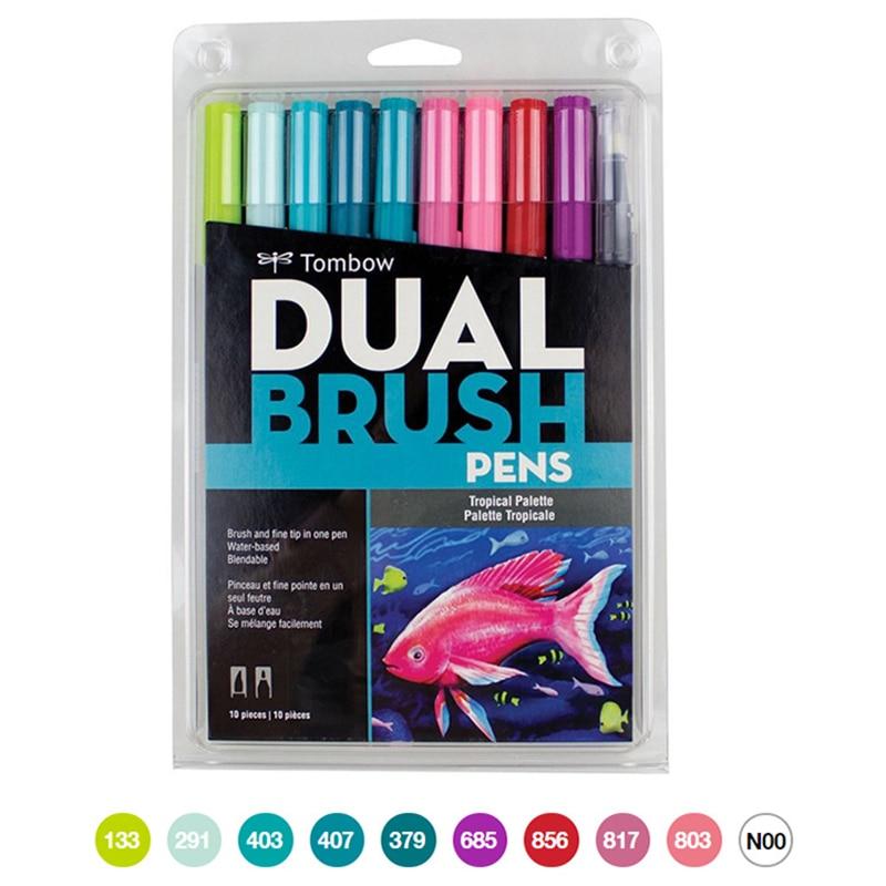 10pcs/set Calligraphy Pen Set Double Head Markers Color Pen Soft Brush Pen Drawing Nomination Art Supplies