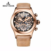 Reef Tiger/RT Mens Sport Watches Brown Leather Strap Skeleton Quartz Watches Chronograph Stop Watches RGA792
