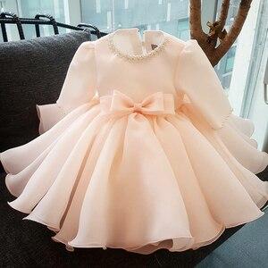 Sukienki dla dziewczynek z długimi rękawami sukienki dla dziewczynek 1st rok suknia ślubna dla dzieci chrzciny odzież dla niemowląt