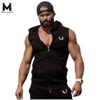 Men Cotton Hoodie Sweatshirts Fitness Clothes Gym Bodybuilding Tank Top Men Sleeveless Sport Tees Shirt Casual